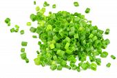 picture of scallion  - chopped of Fresh scallions isolated on a white background - JPG