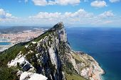 image of gibraltar  - Elevated view of The Rock and Spanish coastline Gibraltar United Kingdom Western Europe - JPG