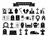 image of hearse  - Set of vector funeral icons - JPG
