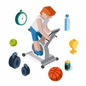 picture of treadmill  - Sport exercise workout flat 3d isometric modern design concept vector icon collage - JPG