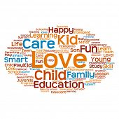 stock photo of education  - Conceptual education blue and orange abstract word cloud - JPG