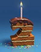 pic of birthday-cake  - number two shaped birthday cake with lit candle and confetti - JPG
