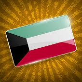 stock photo of kuwait  - Flag of Kuwait with old texture - JPG