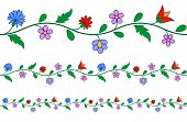 stock photo of hungarian  - Horizontally seamless Hungarian embroidery floral pattern on white - JPG