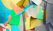image of fragmentation  - Abstract colorful chaotic polygonal fragments on gray concrete background - JPG