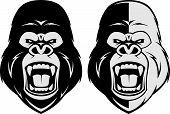 stock photo of gorilla  - Vector illustration head evil ferocious gorilla shouts - JPG