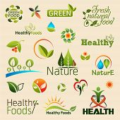 stock photo of emblem  - Natural organic product logos - JPG