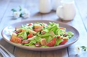 pic of smoked ham  - Caesar salad with grilled smoked ham and cherry tomatoes