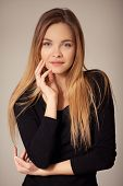foto of natural blonde  - Portrait of beautiful young girl with natural blond hair posing without makeup - JPG