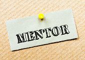 stock photo of mentoring  - Recycled paper note pinned on cork board - JPG