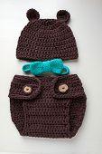 foto of diaper  - handmade crochet bear costume with bow - JPG