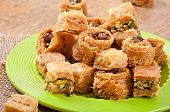 stock photo of baklava  - Delicious and fresh oriental sweets baklava with nuts - JPG