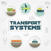 "stock photo of railroad car  - ""Transport systems"" phrase transportation (truck car ship airplane and train) and tools - JPG"