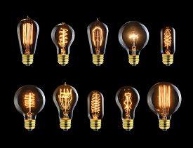 picture of glow  - Set of vintage glowing ligh bulbs on black - JPG