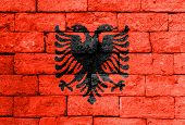 foto of albania  - Flag of Albania painted over on old brick wall - JPG