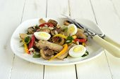 foto of quail  - Chicken and mushroom salad with quail eggs and fresh herbs - JPG