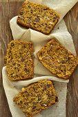 picture of pumpkin pie  - Spicy pumpkin cupcake with raisins and nuts - JPG