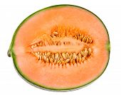 foto of cantaloupe  - Ripe Melon Cantaloupe slice isolated on white background - JPG