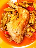 picture of okra  - Chicken stew with okra shot from above - JPG