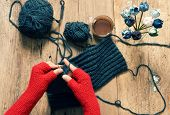 stock photo of knitting  - Handmade gift for special day as mother day father day valentine day or wintertime heap of ball of wool to knit colorful scarf for cold day knitting to make meaningful present - JPG