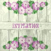 picture of geranium  - Vintage invitation greeting card template with geraniums and wood - JPG