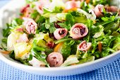 picture of squid  - Healthy salad made of lettuce arugula and boiled squid - JPG