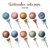 picture of cake pop  - Vector watercolor cake pops set - JPG