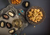 picture of eid festival celebration  - Eid celebration food and festive background - JPG