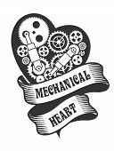 pic of mechanical drawing  - mechanical heart belted ribbons and decorated with metal parts in the style of steam punk badge on a white background - JPG