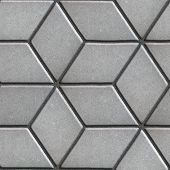 picture of paving  - Gray Paving Slabs Laid Flower of Rhombuses - JPG