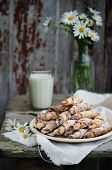 picture of bagel  - Homemade bagels with nuts  on wooden table - JPG