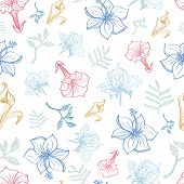 picture of crocosmia  - Vector Exotic Florals Drawing Seamless Pattern graphic design - JPG