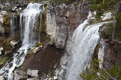 image of volcanic  - The twin Paulina falls at Newberry Crater National Volcanic Monument Oregon drop about 80 feet - JPG