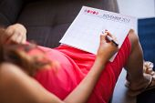 stock photo of pov  - Point of view of a young expentant mother marking the baby - JPG