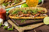 pic of cheese-steak  - Steak sandwich with herbs lime and microgreens with little bit kick of hot sriracha souce - JPG