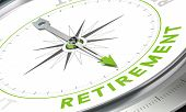 stock photo of retirement  - Compass with needle pointing the word retirement - JPG