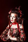 stock photo of geisha  - Traditional makeup and hairstyle Geisha Kabuki actors - JPG