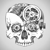 picture of mechanical drawing  - human skull with clockwork mechanism inside vector - JPG
