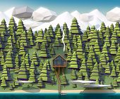 image of backwoods  - the house on the banks of a wild river and giant spruce swayed by snow - JPG