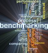 picture of benchmarking  - Background concept wordcloud illustration of benchmarking glowing light - JPG