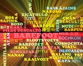 picture of barefoot  - Background concept wordcloud multilanguage international many language illustration of barefoot glowing light - JPG