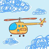 picture of rescue helicopter  - Helicopter in the cloud sky - JPG