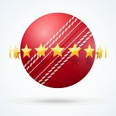 foto of cricket ball  - Vector illustration of symbol cricket leather ball with golden stars - JPG