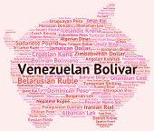 stock photo of bolivar  - Venezuelan Bolivar Indicating Exchange Rate And Forex - JPG
