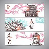 stock photo of sakura  - Asian horizontal banners set with hand drawn sakura branch and buddha isolated vector illustration - JPG