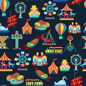 pic of amusement park rides  - Amusement park seamless pattern with children attractions flat vector illustration - JPG