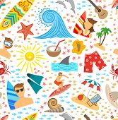 picture of beach shell art  - Surfing vacation and tropical beach symbols seamless pattern vector illustration - JPG