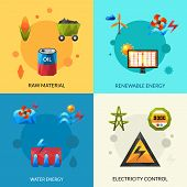 stock photo of hydro-electric  - Raw material renewable energy and electric control polygonal icons set isolated vector illustration - JPG