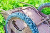 stock photo of wheelbarrow  - foto a inverted old wheelbarrow garden closeup - JPG
