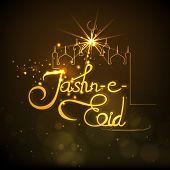 stock photo of eid festival celebration  - Beautiful golden mosque and stylish text Jashn - JPG